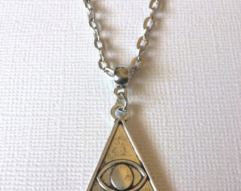 SUMMER SALE Evil Eye Illuminati Necklace on Silver Cable Chain - Mens Jewelry