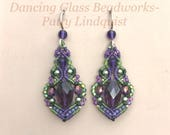 Macrame earrings in purple and green, green and purple beaded earrings, micro macrame, macrame beading, beaded macrame