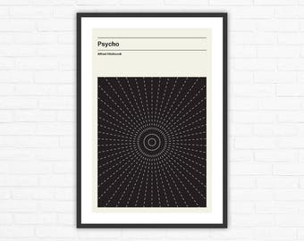 Alfred Hitchcock, Psycho Minimalist Movie Poster