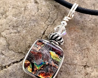 Pretty Drop Dichroic Glass Pendant Necklace Small Wire wrapped