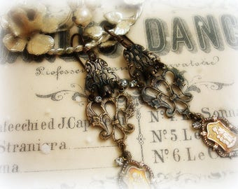 diVinity limited edition earrings antique fRench holy medals heirloom quality reproduction rosary centers tiny swarovski crystals