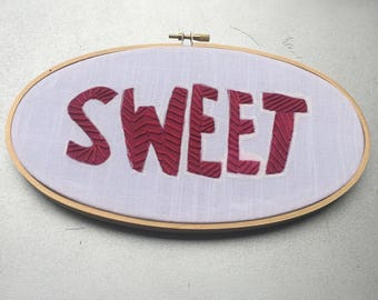 Sweet - hand drawn and embroidered Red Licorice / Red Vines / Twizzlers wall hanging hoop art