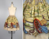 novelty skirt / 1950s / john wolf / WAGON WHEEL cotton vintage skirt