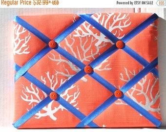 July 4th Sale Coral In A Sea Of Orange Memory Board French Memo Board, Ribbon Fabric Memo Bulletin Board, Fabric Pin Board, Fabric Photo Boa