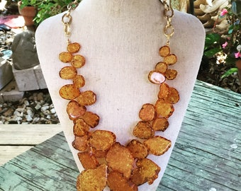 Chunky Amber Gold Necklace