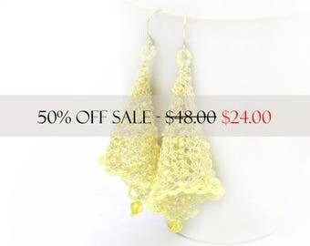 Dangle Earrings, Wire Earrings, Wire Crochet Earrings, Yellow Beaded Earrings, Fairy Bell Earrings, Wire Crochet Jewelry, Beaded Earrings