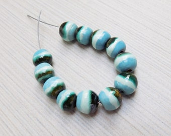 Kazuri Mini Wildflower Stripes Ceramic Beads