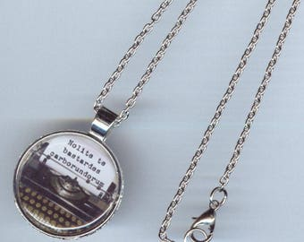 "Typewriter quote Necklace - Nolite te bastardes Carborumdorum - silver tone pendant 20"" chain"