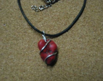 Wire Wrapped Red Stone Necklace. Black Leather Cord. Silver Wire.