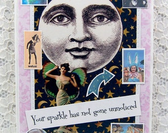 "Sparkle Smile Shine Greeting Card comes w 1"" Pin Back Button-Full Moon Card-Fairy Card-Mystical Card-Magic card-Magical-Crystal Ball"