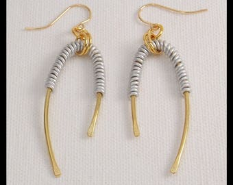 KIRA - Handforged Bronze and Pewter Wrapped Wishbone Statement Earrings