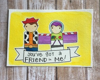 PegBuddies Postcard- Toy Story Buzz and Woody, You've got a Friend in Me.