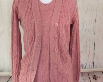 Robby Kent Vintage Womens Two Piece Cardigan Vest Sweater Set Pink Career Size S