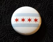 "1"" Chicago IL flag button - Illinois, city, pin, badge, pinback"