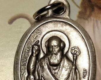 Flash Sale Saint St Nicholas Vintage Estate Silver Plated Religious Medal Pendant Marked ITALY