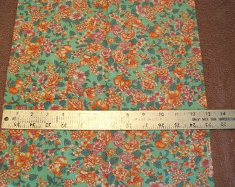 Pink Orange Green Floral Calico Fabric - 1/4 Yard remnant by Concord Fabric Inc