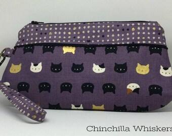 Purple Kitty Face Wristlet