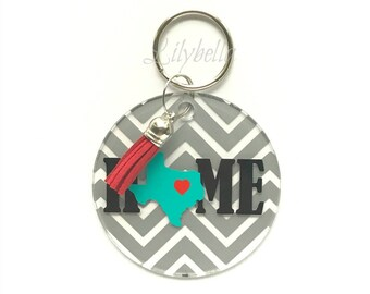 State Key Chain - Key Chain - Acrylic Key Chain - Personalized State -  Key Chain - Key Chain - Summer Key Chain - Bridesmaid Gift