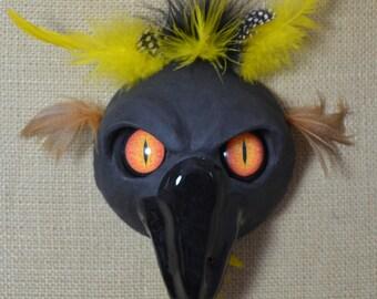"Ceramic raven mask with resin ""follow me eyes"""