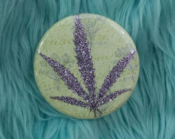 Dusty Purple Glitter Pressed Cannabis Leaf Button