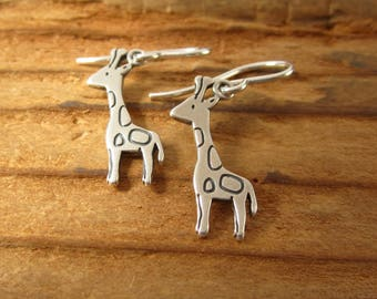 Giraffe Earrings - Sterling Silver Giraffe Earrings