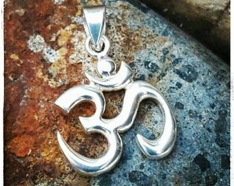 ON SALE TODAY Om Pendant with Bail - Sterling Silver Om Symbol Necklace