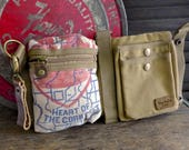 Heart of Corn belt - Eschelman -  Convertible Belt/Waist Bag Vintage seed sack - Americana OOAK Canvas & Leather Bag Selina Vaughan Studios