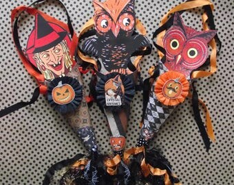 Set 3 Handmade Halloween cones