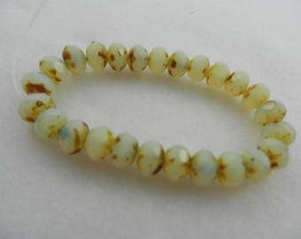 9mm Czech glass rondelle beads yellow/opalie color  25 beads 8047