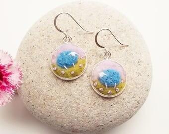 Blue Felt Sheep Earrings
