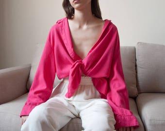 fuschia pink linen blend oversized top / linen blouse / button down top / s / m / 2683t / B18