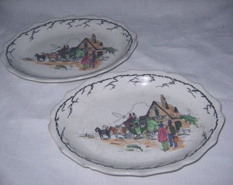 Syracuse China oval plate with stage coach set of two