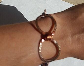 Hammered Iridized Copper Infinity Bracelet