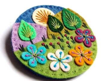 HALF PRICE Summer Sale Treescape felt brooch with freeform embroidery
