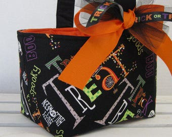 Halloween Trick or Treat Bag Candy Basket Bucket - Trick Treat Words on Black Fabric - Personalized Name Tag Applique Available