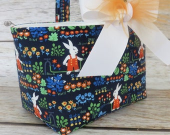 READY TO SHIP - Easter Candy Basket Bin Storage Container Egg Hunt  - Rabbits Bunnies in Garden Fabric