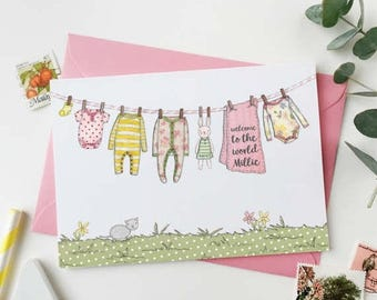 SALE New Baby Girl Personalised Washing Line Card - Welcome To The World Baby Card - Baby Keepsake Card