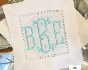 MONOGRAM Cocktail Napkins. Chinoiserie White Hemstitch. Housewarming Hostess Gift. Stock the Bar Party. Bridal Shower. Bar Cart Decor