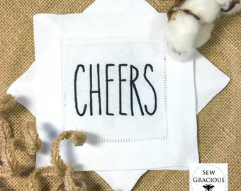 CHEERS Rae Dunn Inspired Embroidered Cocktail Napkins. Set of 4. Wedding Gift. Hostess Gift. Farmhouse Decor. Other Words on Request