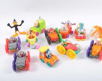 Loony Toons, Tiny Toons, McDonalds, Happy Meal, Tiny Toons, Wacky Rollers, Chipmunks, Daffy Duck, Small, Toys, In Cars ~ Pink Room ~ 170316