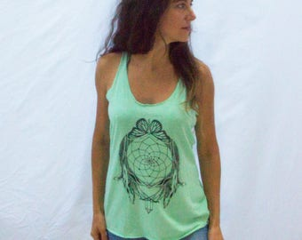 Dreamcatcher Crystal Butterfly Tree of Life Mint Green Tank top