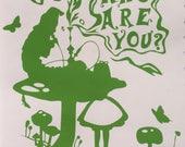 Caterpillar Mushroom Alice in Wonderland inspired vinyl sticker decal car window sticker