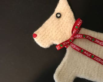 Felted Christmas trivet, Scottie/Westie