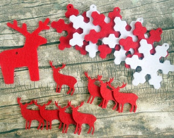 Christmas felt snowflake, stag and reindeer shapes. Red and white. DIY craft kit, scrapbooks, card making, present toppers