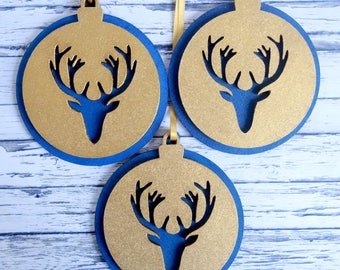 Rustic stag's head Christmas ornaments. Dark blue and gold wood tree decorations. Modern country baubles, hand-painted.  Set of 3.