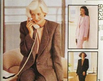 30% OFF SALE 1990s Misses Sewing Pattern McCalls 9023 Misses Lined Jacket, Top & Pants Pattern Size 18 Uncut