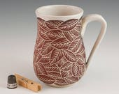 Carved Leaf Mug - Handmade stoneware pottery - White, Red on White Clay