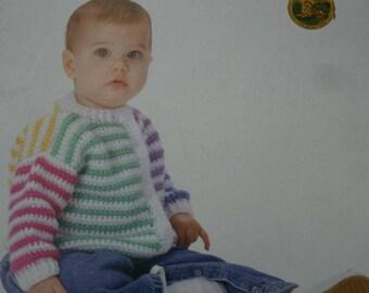 Crochet Patterns Baby Leisure Arts Cardigans Sweaters Hats Afghans Blankets Sleep Sac Booties DK Weight Yarn Paper Original NOT a PDF