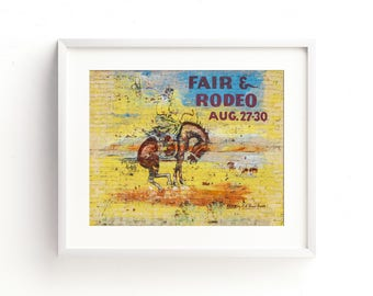 """vintage mural art, colorful wall art, western decor, mid century modern decor, mid century modern wall art, rodeo, cowboy - """"Fair and Rodeo"""""""