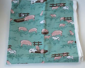 Vintage Pigs On A Farm Fabric Material 1 yard